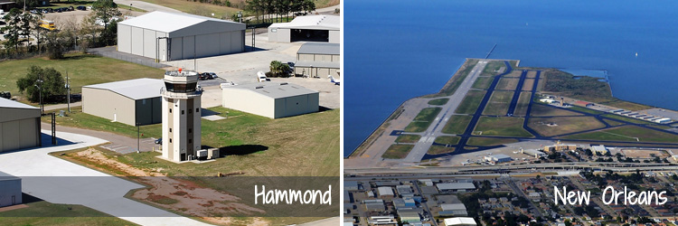 Aerials Photos of Hammond Northshore Regional Airport and New Orleans Lakefront Airport